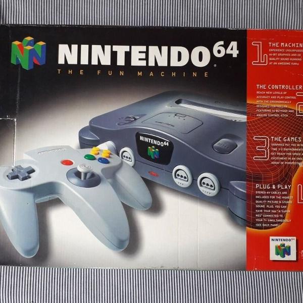 Nintendo 64 completo na caixa + mario party 2