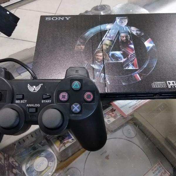 Playstation 2 desbloqueado abre jogos ps1 e ps2 leitor e