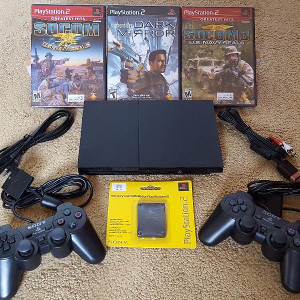 Ps2 playstation 2 slim original completo 3 jogos originais