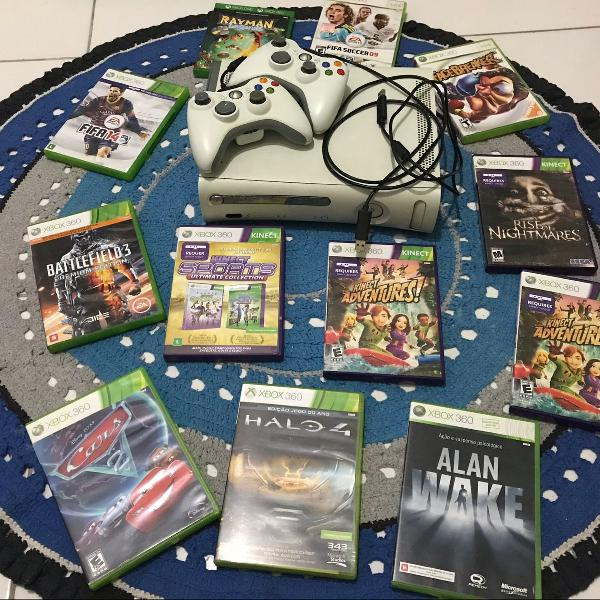 Xbox 360 bloqueado + kinect + 12 jogos