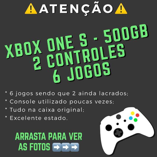 Xbox one s 500gb 2 controles 6 jogos (sendo 2 lacrados) tudo