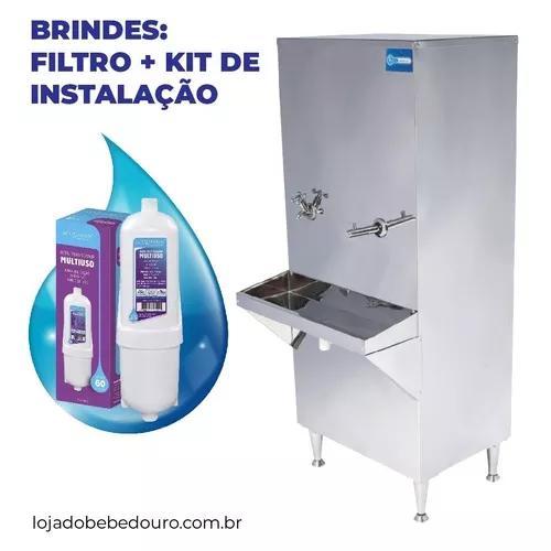 Bebedouro industrial coluna inox 50l + filtro e kit instalar
