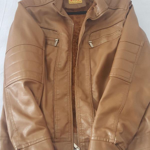 Jaqueta de couro sintético marrom