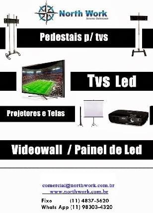 Locação tv led sp, tripe para tv, videowall sp