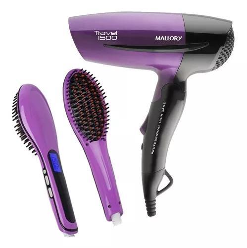 Mini secador de cabelo 1500 pequeno + escova magica bivolt