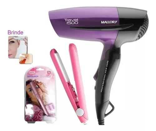 Secador de cabelo mallory dobrável prancha bivolt aparador