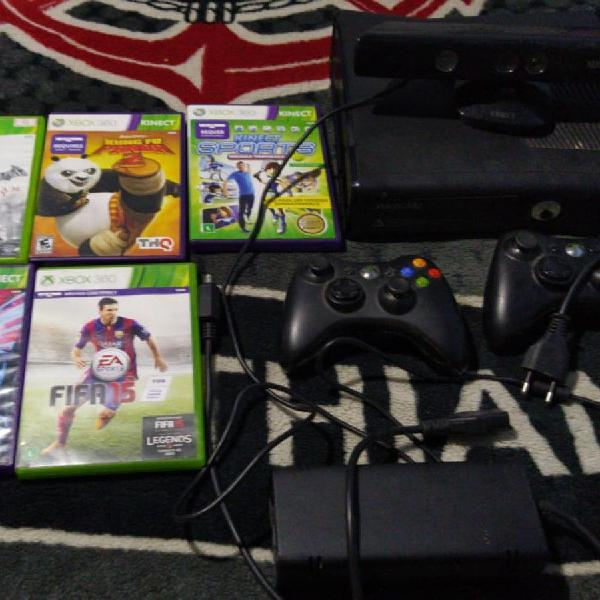 Xbox 360 c/ kinect + 5 jogos