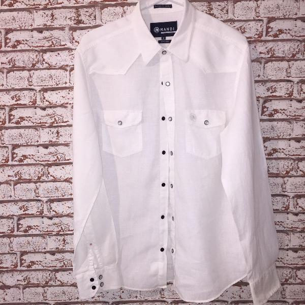 Camisa branca masculina 100% linho