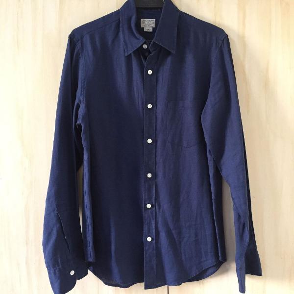 Camisa de linho j crew azul marinho