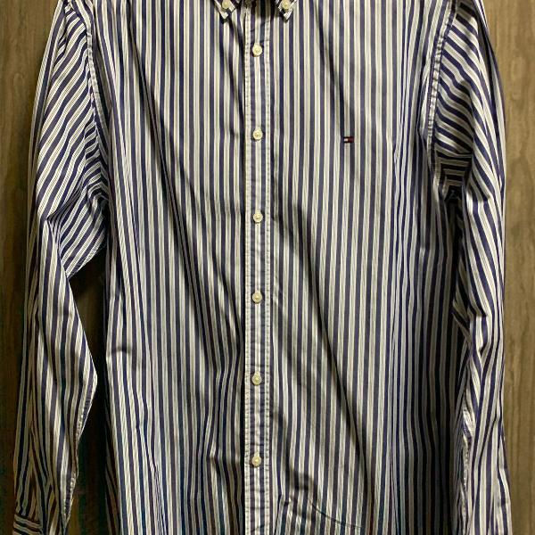 Camisa listrada azul e branca tommy hilfiger original