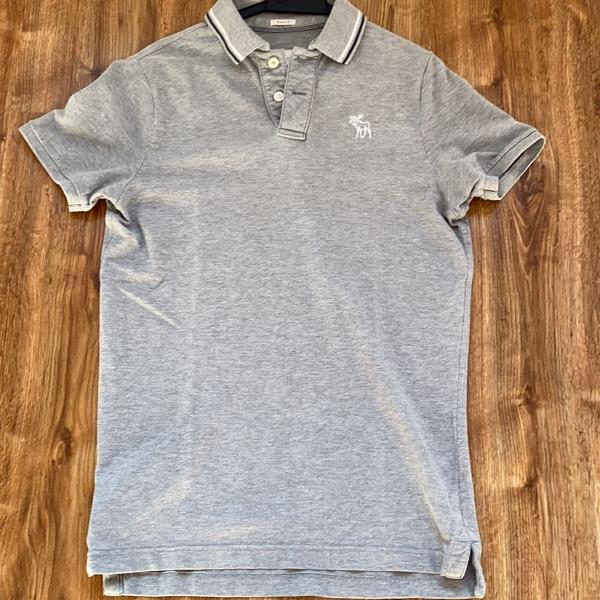 Camisa polo cinza mesclado abercrombie&fitch masculina