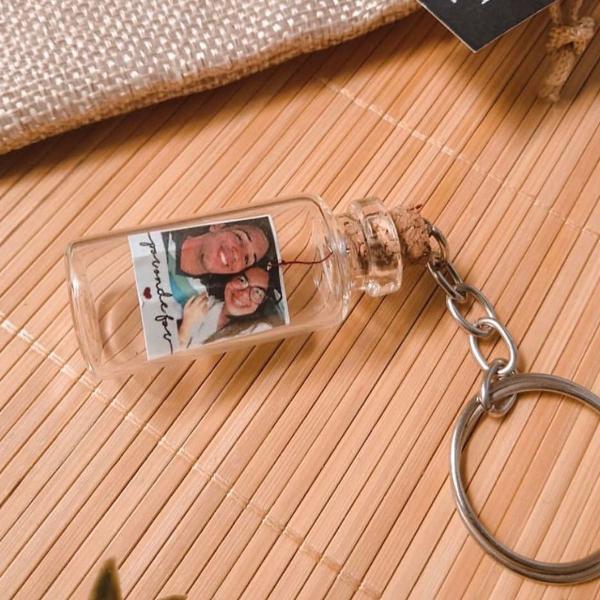 Chaveiro com foto na garrafa