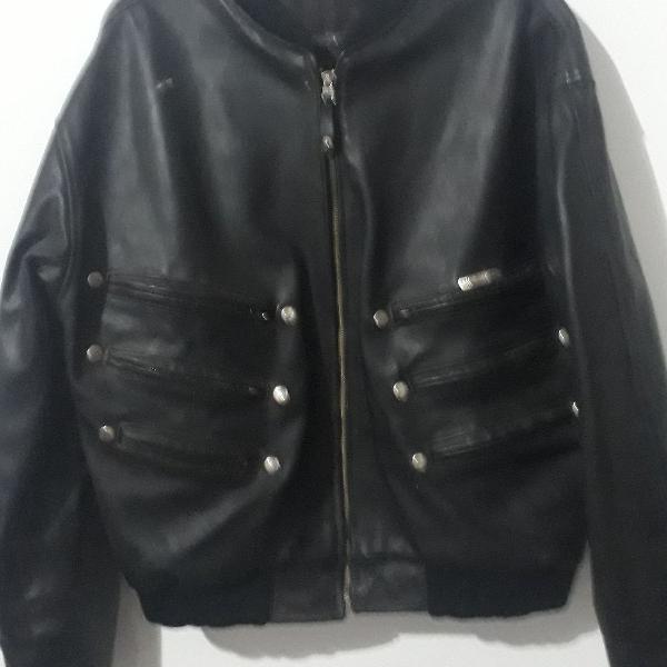 Jaqueta de couro legítimo masculina