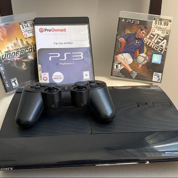 Playstation 3 + controle sem fio + 3 jogos originais