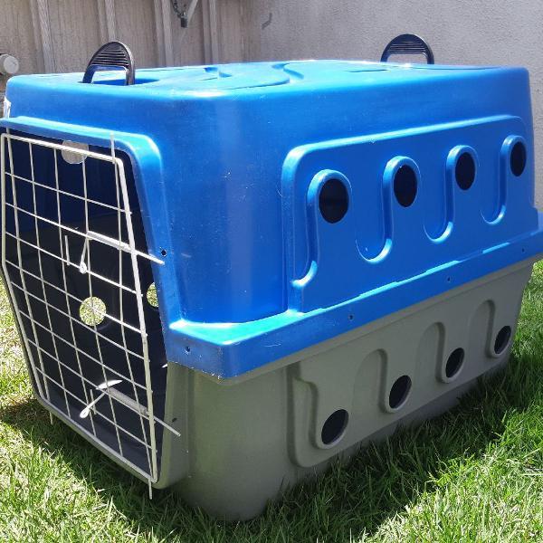 Caixa de transporte ideal dog cinza e azul