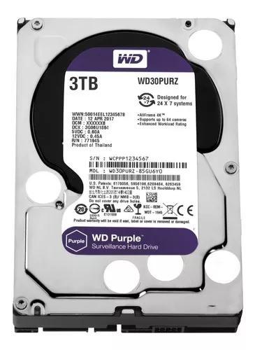 Hd 3tb Purple 3 Tera Western Intelbras Wd Cftv Dvr Wd30purz