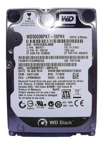 Hd de 500gb western digital p/notebook
