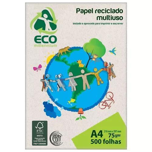 Papel reciclado a4 75g resma 500 fls eco millennium jandaia