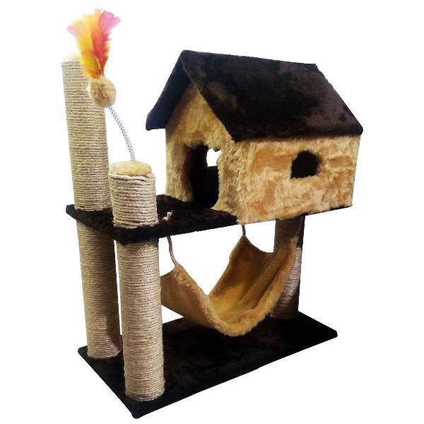 Arranhador casinha para gatos com rede e brinquedo