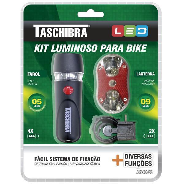 Kit bicicleta de led farol e lanterna taschibra