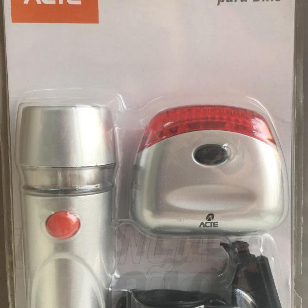 Kit farol e lanterna para bike super led