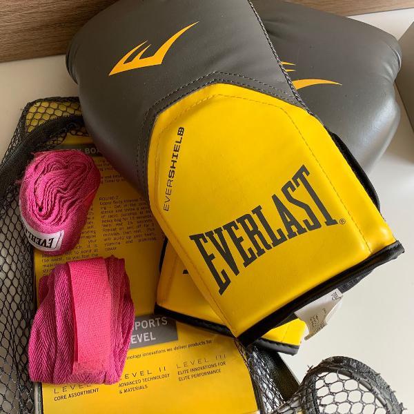 Luvas de boxe everlast pró style 12 oz + bandagem