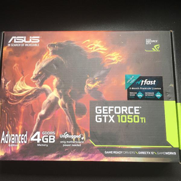 Placa de video asus nvidia geforce gtx 1050 ti, 4gb