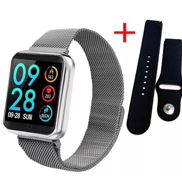Relógio inteligente smartband p70 monitor cardíaco - preto