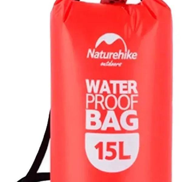 Saco estanque bolsa a prova dagua naturehike 15l vermelho