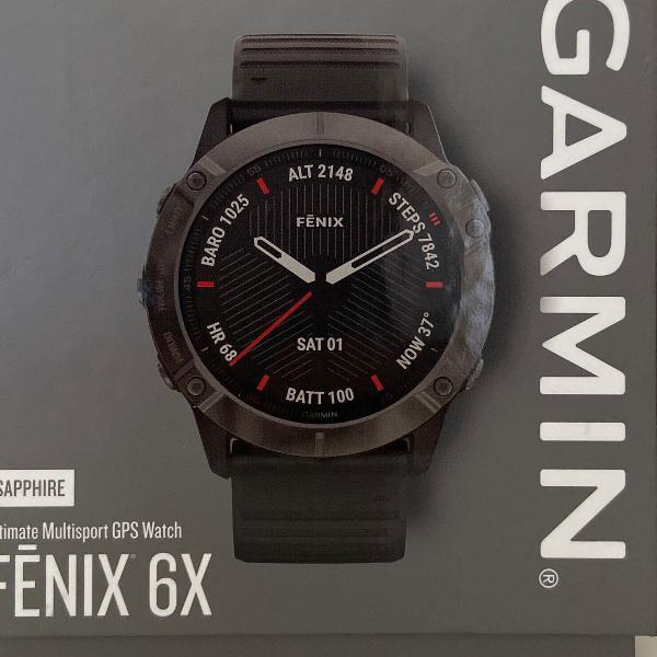 smartwatch - garmin fênix sapphire 6x carbon - 51mm