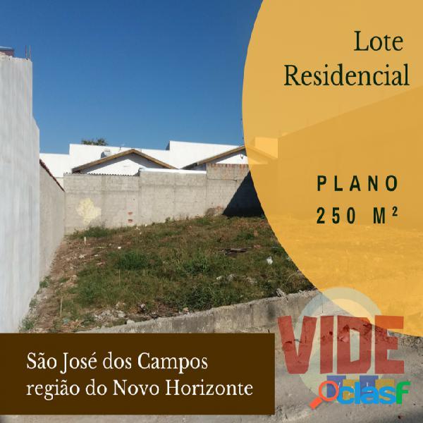 Lote residencial, plano, com 250 m², na região do Novo Horizonte