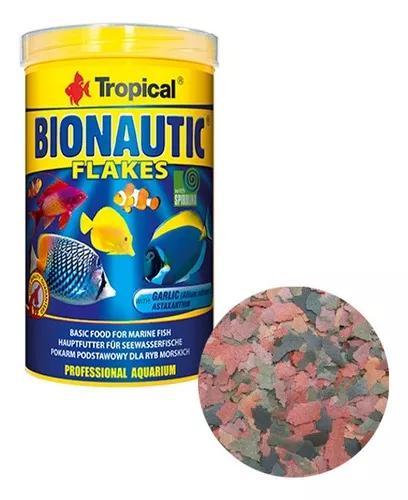 Ração tropical bionautic flakes 200g para peixes marinhos