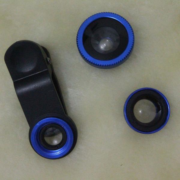 Clip com 3 lentes para celular