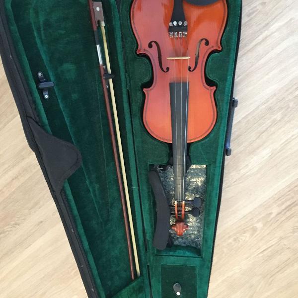 Violino freeman classic 4/4 iniciante + estojo + espaleira