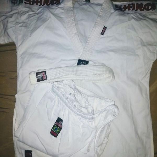 Dobok shiroi taekwondo adulto a3 + faixa branca