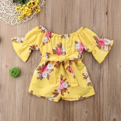 Macacão infantil menina c/ laço amarelo roupa bebês