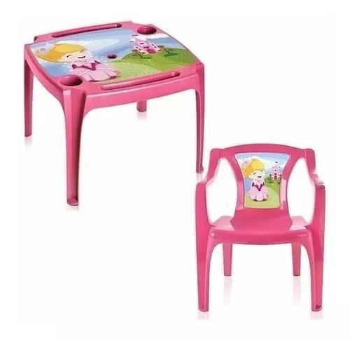 Mesa (mesinha infantil) com 1 cadeiras princesa menina rosa