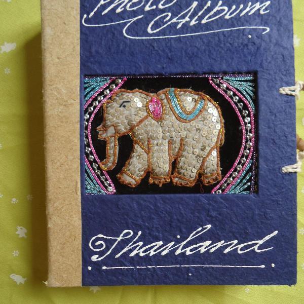 Lbum de fotos artesanal da thailandia rustico usado