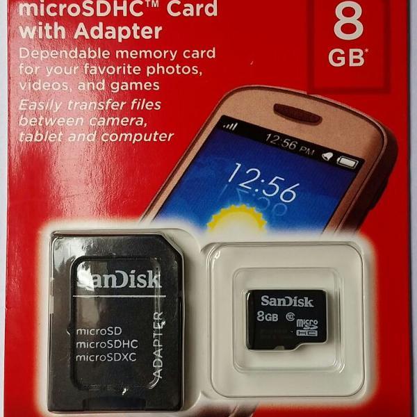 Cartão de memória micro sd 8gb sandisk classe 4 original