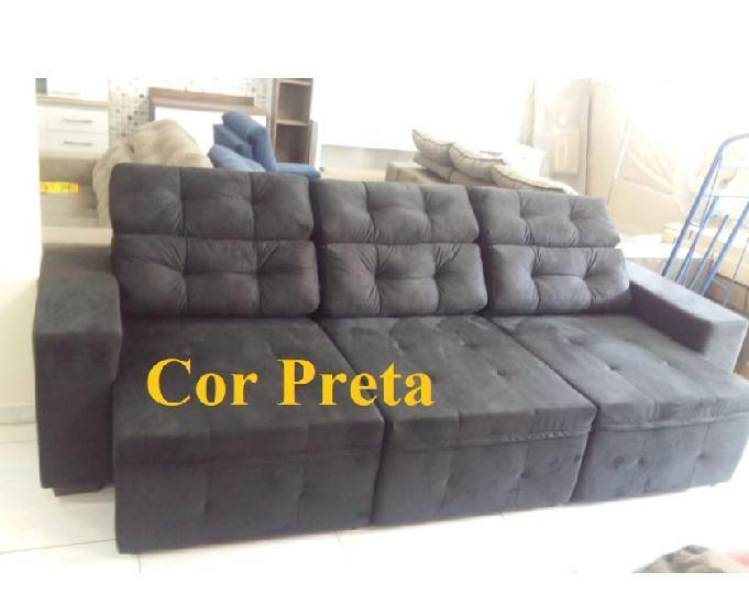 Sofá de 2,80 metros, retrátil e reclinável.