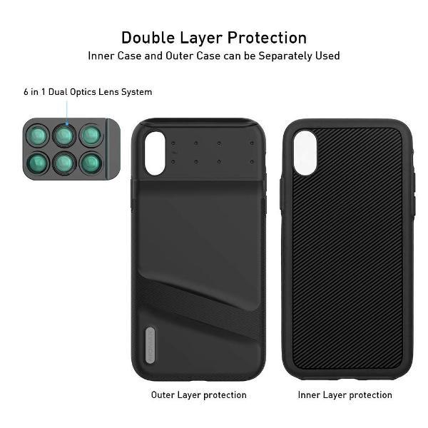 Capa case com lentes 6 em 1 para iphone xs max momax