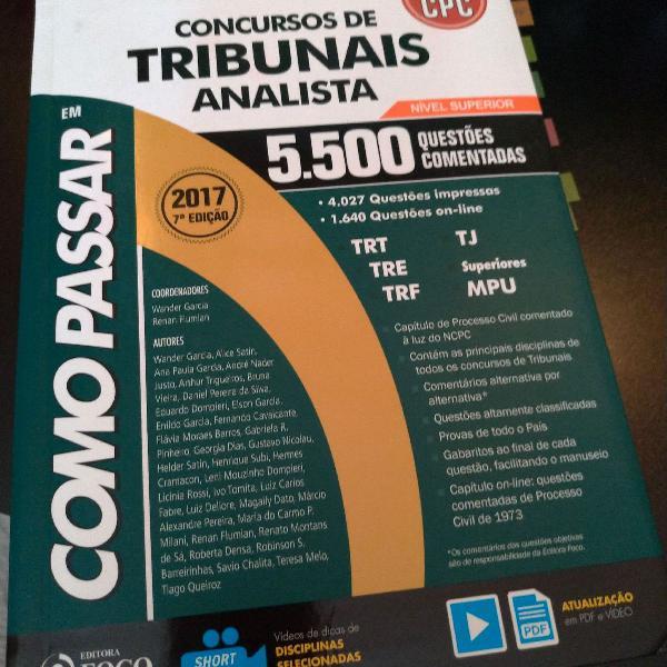 Livro concursos tribunais analista judiciário 5500