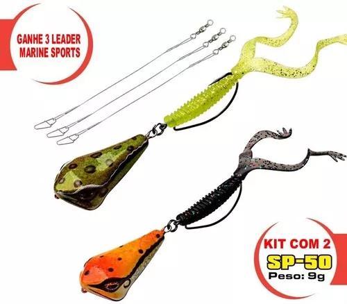 2 isca artificial frog sapito 50 peixes predador e 3 leader