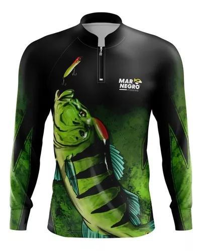 Camisa camiseta pesca mar negro proteção solar dry fit