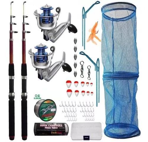 Kit pesca 2 varas 2,10 m 2 molinete isca linha 640 m piau