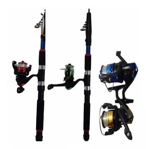 Kit pesca 3 vara 1,70m 3 molinete 2 rol. 300m linha+brinde