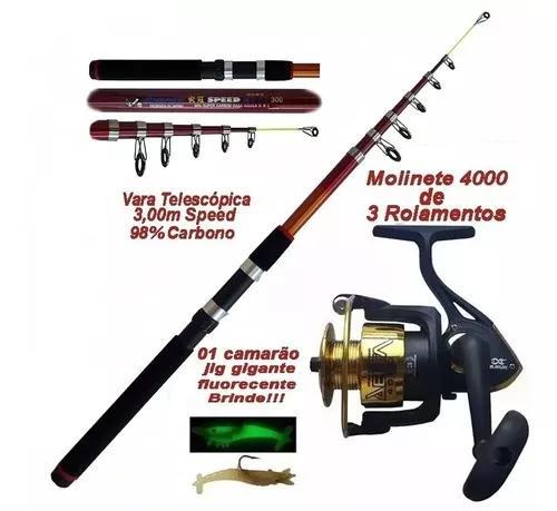 Pesca 1 caniço 3 metros 98% carbono 1 molinete 4000 +