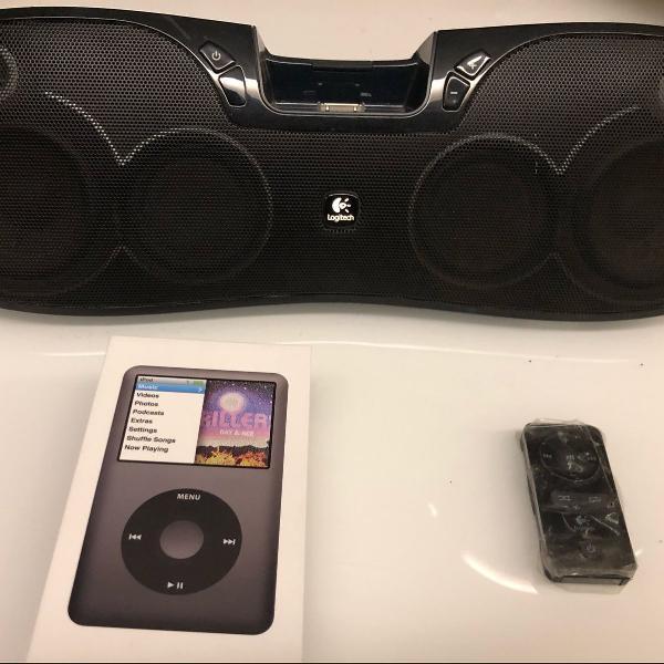 ipod classic 160gb + caixa de som logitec