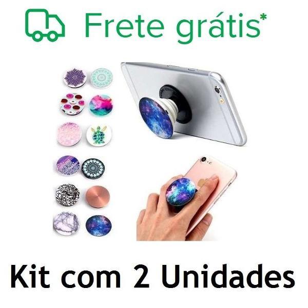 Lote com 2 popsockets pop socket suporte celular + kit pop
