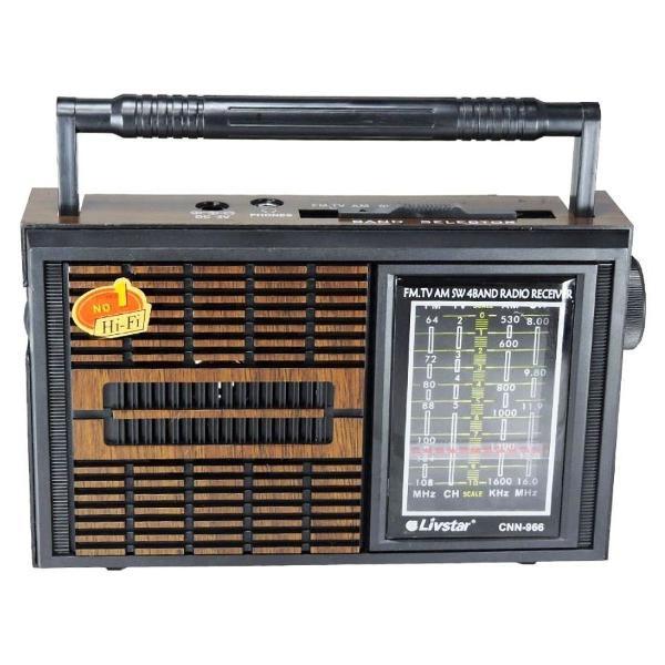 Radio portatil retro com 4 bandas am fm sw e tv livstar